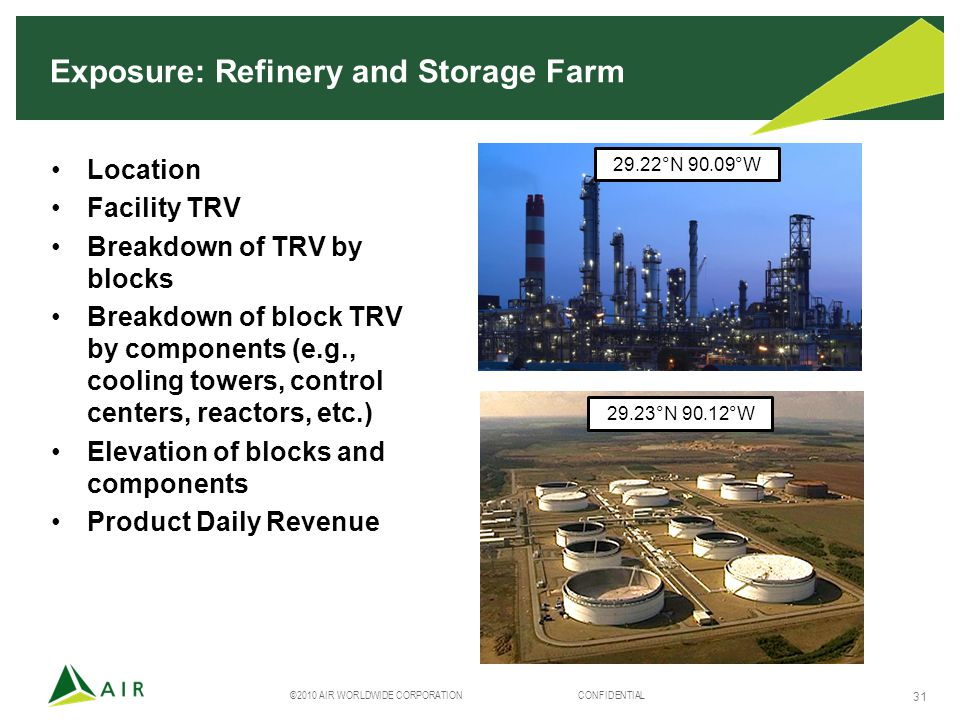 ©2010 AIR WORLDWIDE CORPORATION CONFIDENTIAL 31 Exposure: Refinery and Storage Farm Location Facility TRV Breakdown of TRV by blocks Breakdown of block TRV by components (e.g., cooling towers, control centers, reactors, etc.) Elevation of blocks and components Product Daily Revenue 29.22°N 90.09°W 29.23°N 90.12°W