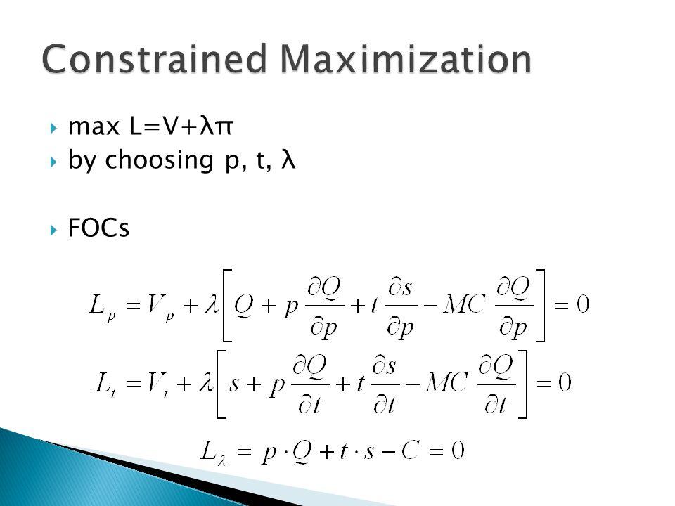  max L=V+λπ  by choosing p, t, λ  FOCs