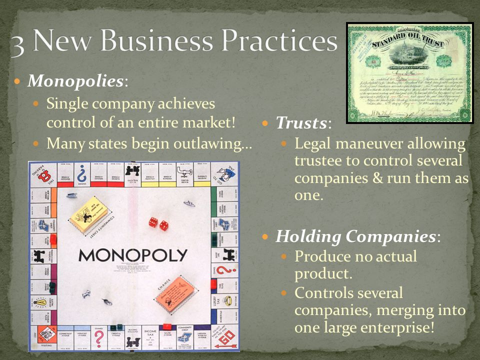 Monopolies: Single company achieves control of an entire market.