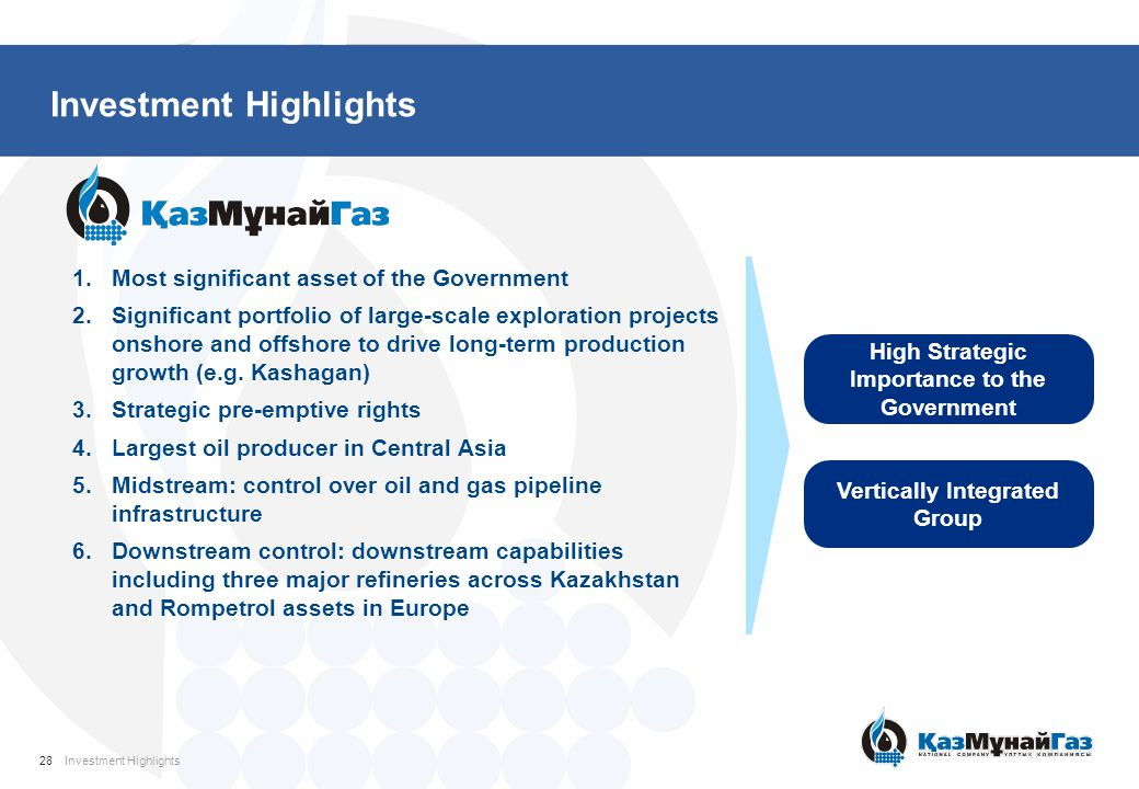 Investment Highlights High Strategic Importance to the Government Vertically Integrated Group 1.Most significant asset of the Government 2.Significant
