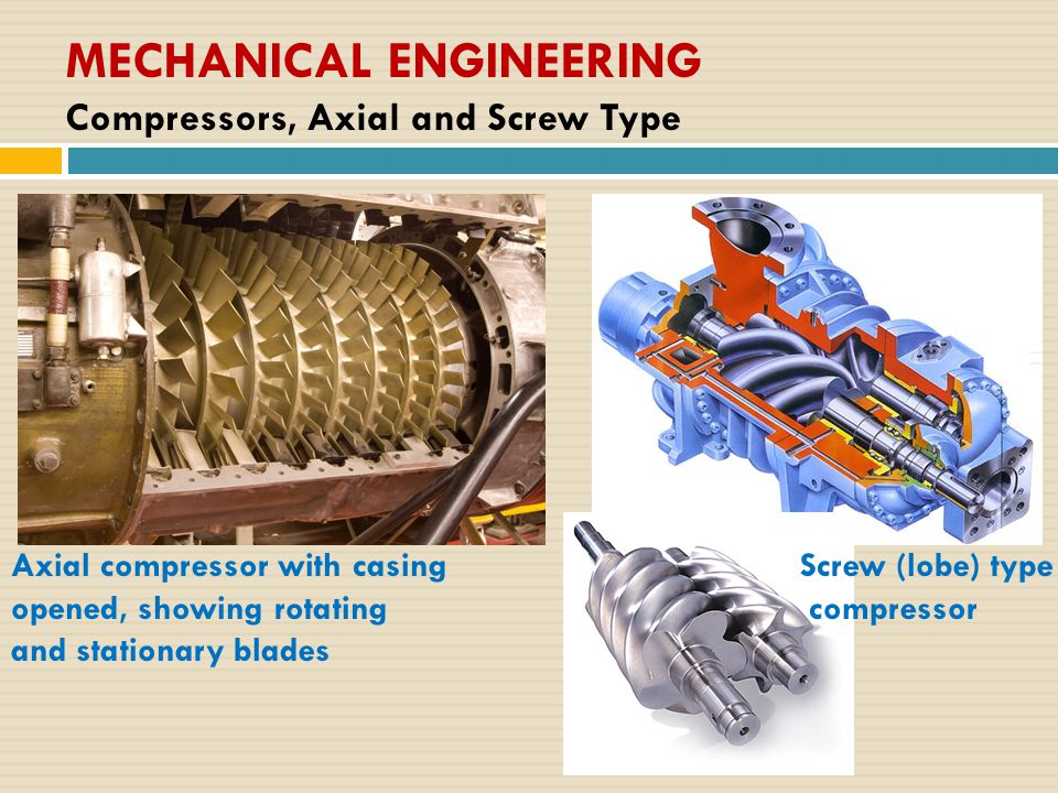 MECHANICAL ENGINEERING Compressors, Axial and Screw Type Axial compressor with casing opened, showing rotating and stationary blades Screw (lobe) type