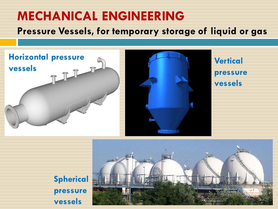 MECHANICAL ENGINEERING Pressure Vessels, for temporary storage of liquid or gas Horizontal pressure vessels Vertical pressure vessels Spherical pressure vessels