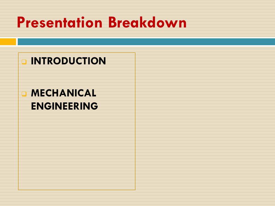 Presentation Breakdown  INTRODUCTION  MECHANICAL ENGINEERING