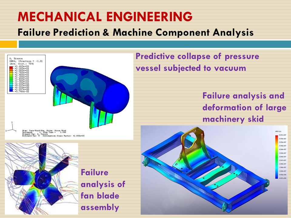 MECHANICAL ENGINEERING Failure Prediction & Machine Component Analysis Failure analysis and deformation of large machinery skid Failure analysis of fan blade assembly Predictive collapse of pressure vessel subjected to vacuum