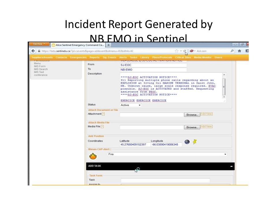 Incident Report Generated by NB EMO in Sentinel