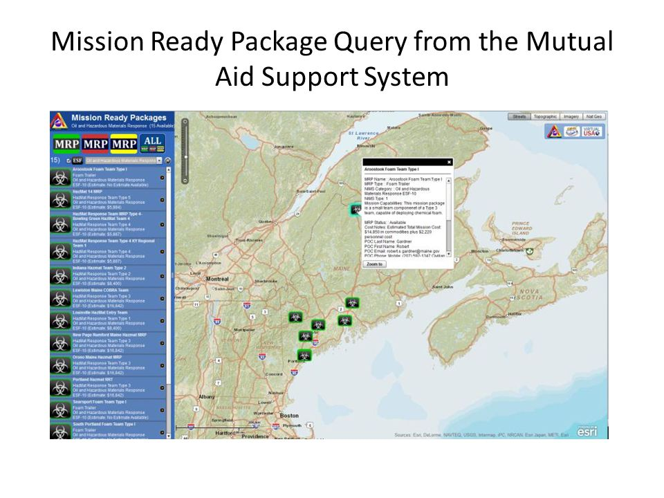 Mission Ready Package Query from the Mutual Aid Support System