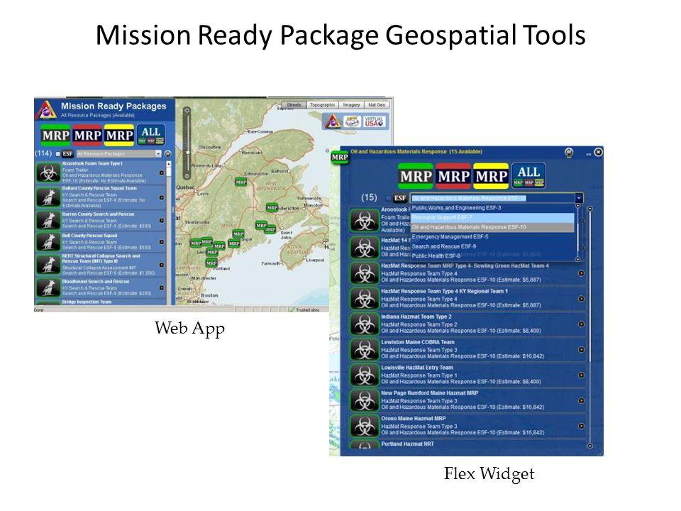 Mission Ready Package Geospatial Tools Web App Flex Widget