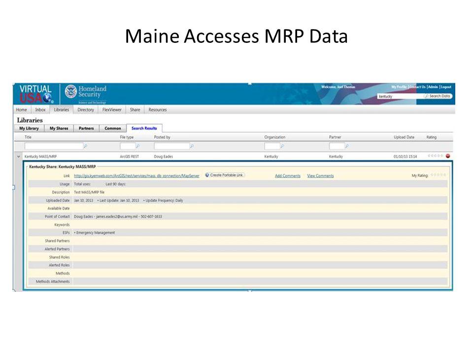 Maine Accesses MRP Data
