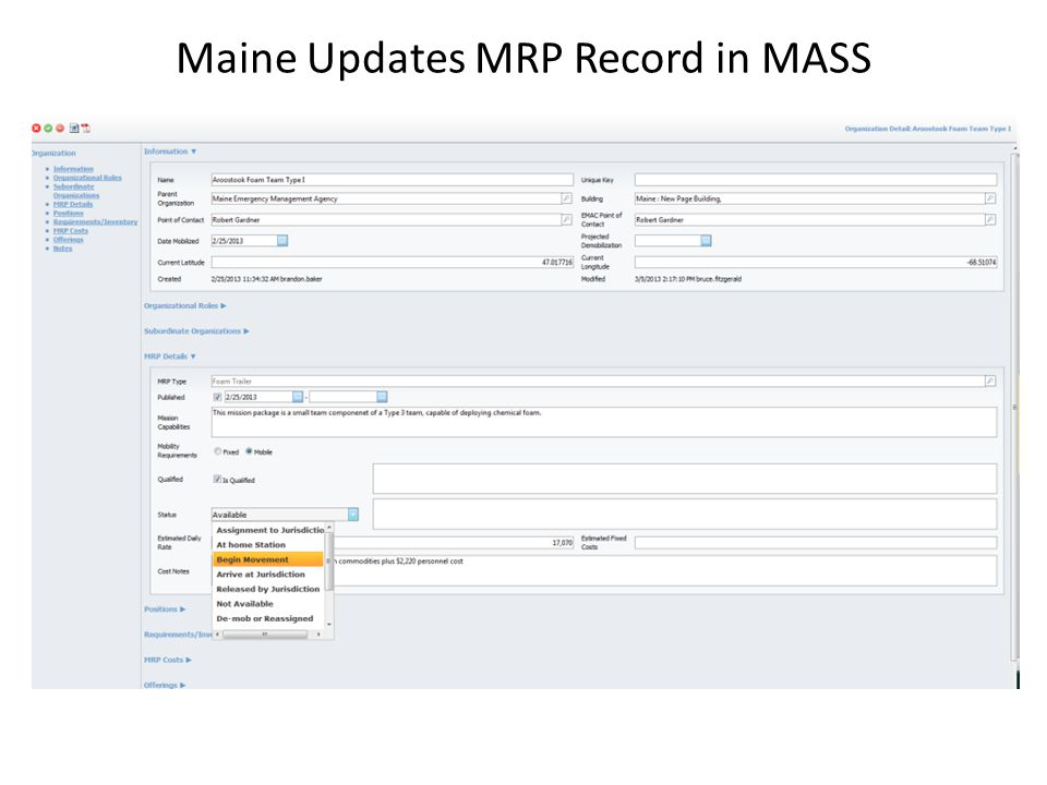 Maine Updates MRP Record in MASS