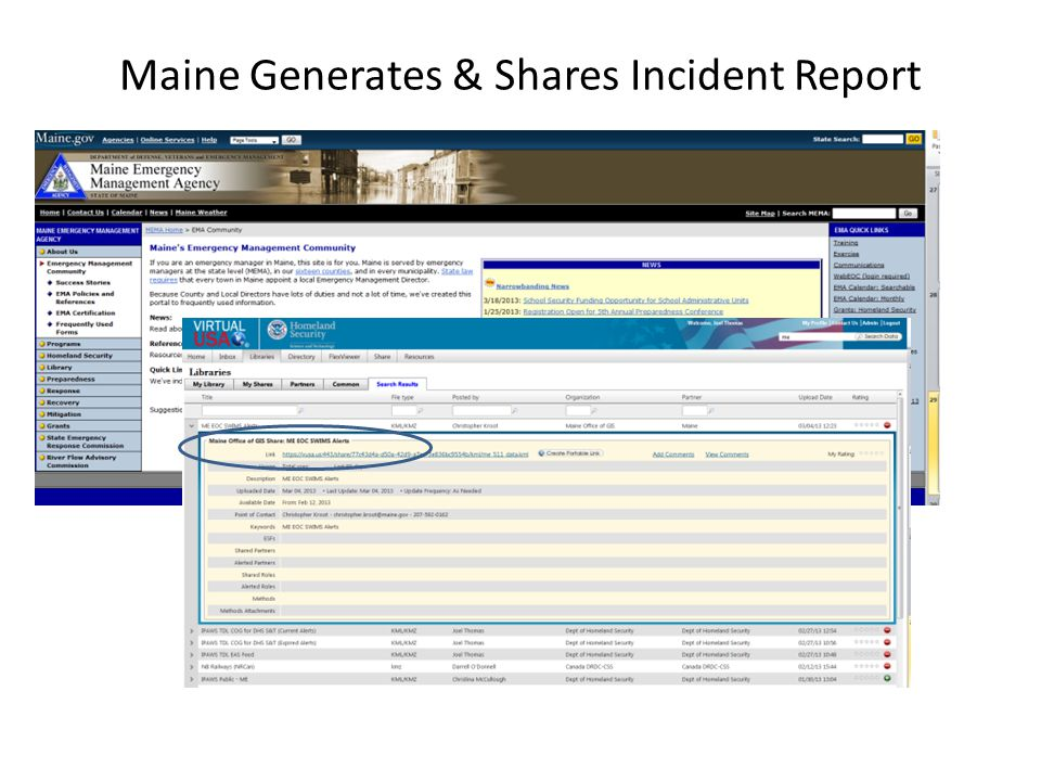 Maine Generates & Shares Incident Report