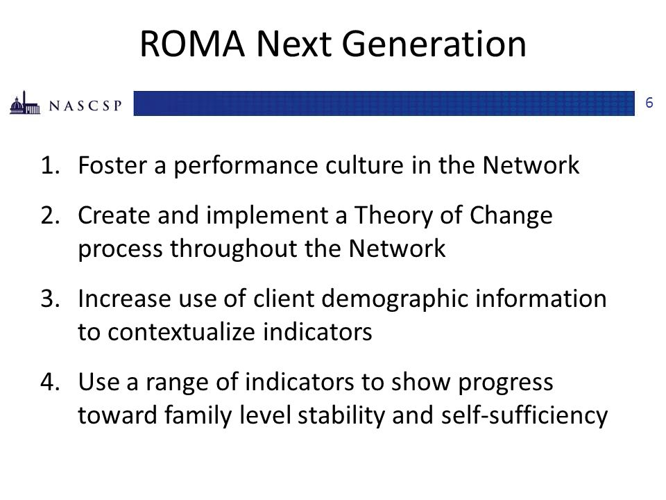 ROMA Next Generation, cont.