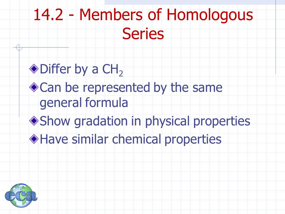 Differ by a CH 2 Can be represented by the same general formula Show gradation in physical properties Have similar chemical properties 14.2 - Members