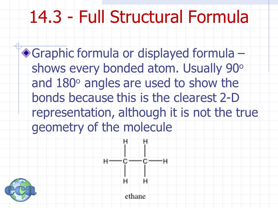 14.3 - Full Structural Formula Graphic formula or displayed formula – shows every bonded atom. Usually 90 o and 180 o angles are used to show the bond