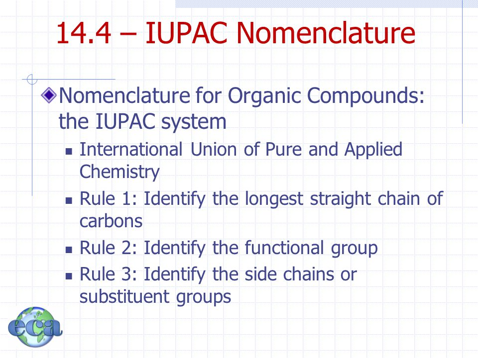 14.4 – IUPAC Nomenclature Nomenclature for Organic Compounds: the IUPAC system International Union of Pure and Applied Chemistry Rule 1: Identify the