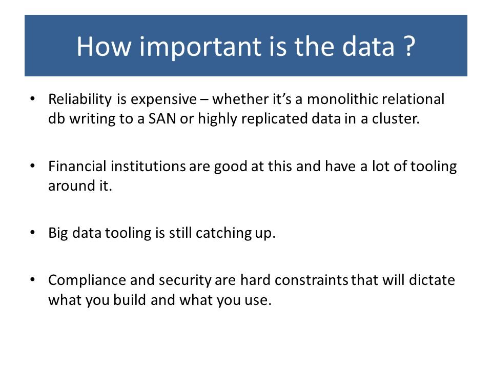 How important is the data .