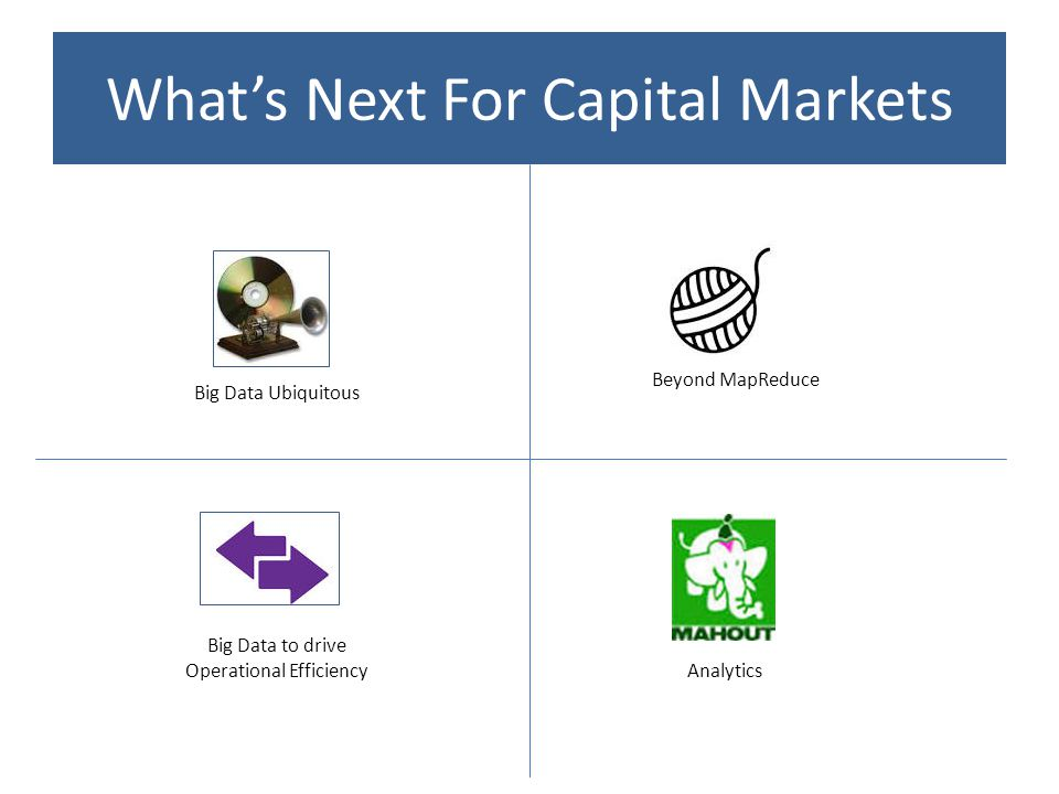 What's Next For Capital Markets Big Data Ubiquitous Big Data to drive Operational Efficiency Beyond MapReduce Analytics
