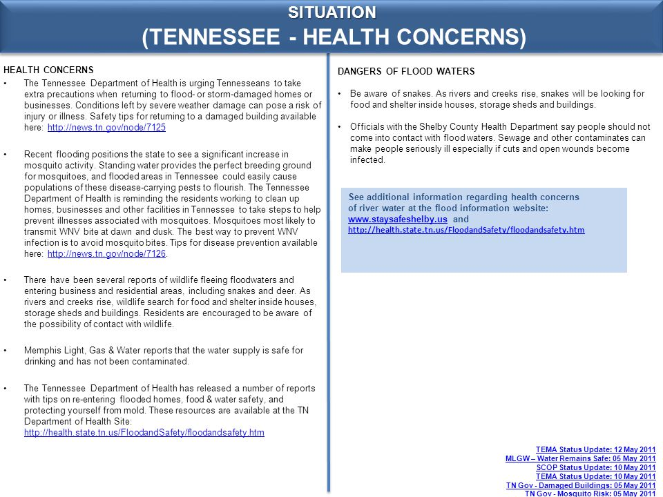 (TENNESSEE - HEALTH CONCERNS) SITUATION HEALTH CONCERNS The Tennessee Department of Health is urging Tennesseans to take extra precautions when returning to flood- or storm-damaged homes or businesses.