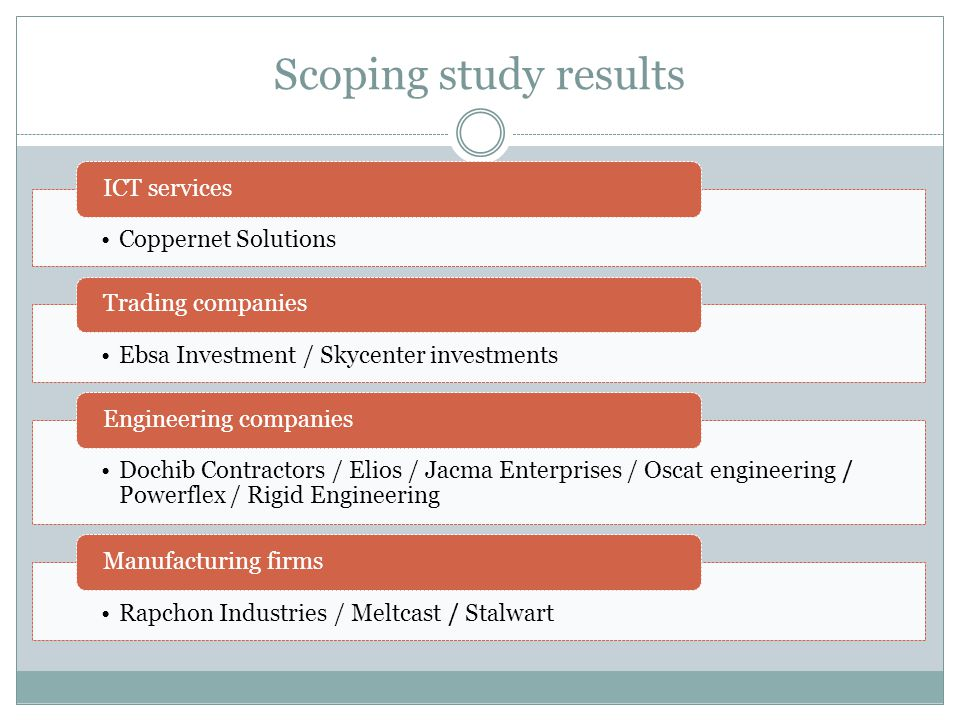 Scoping study results Coppernet Solutions ICT services Ebsa Investment / Skycenter investments Trading companies Dochib Contractors / Elios / Jacma En