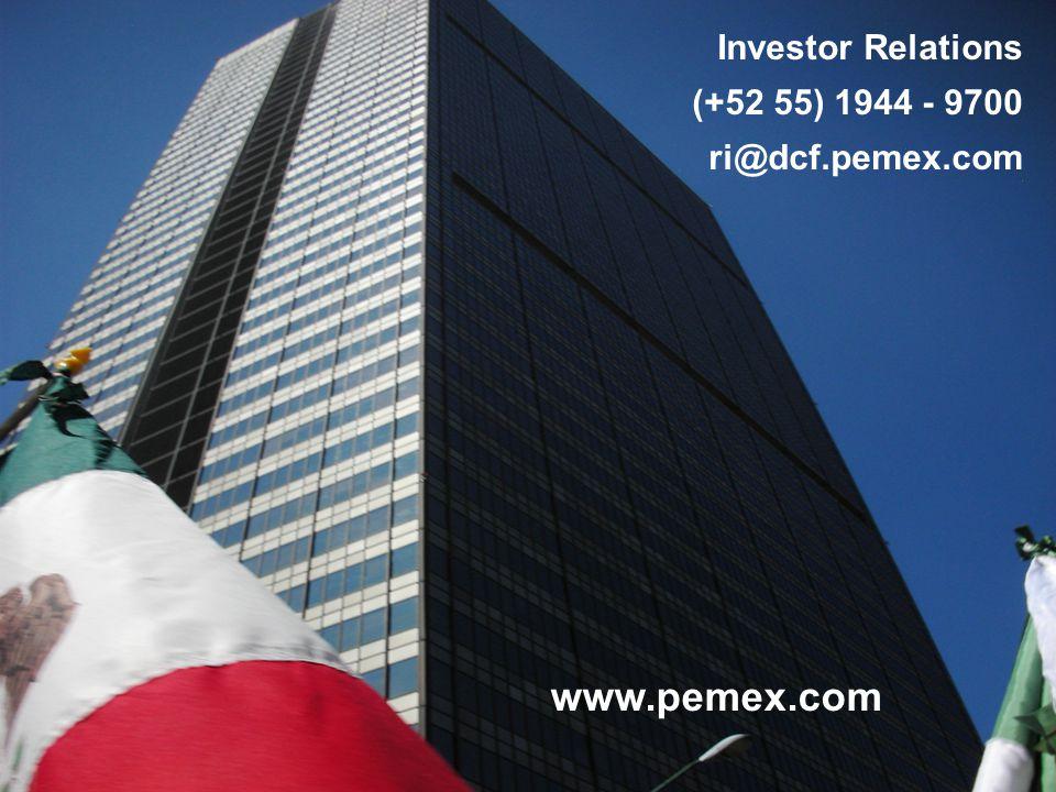 36 www.pemex.com Investor Relations (+52 55) 1944 - 9700 ri@dcf.pemex.com