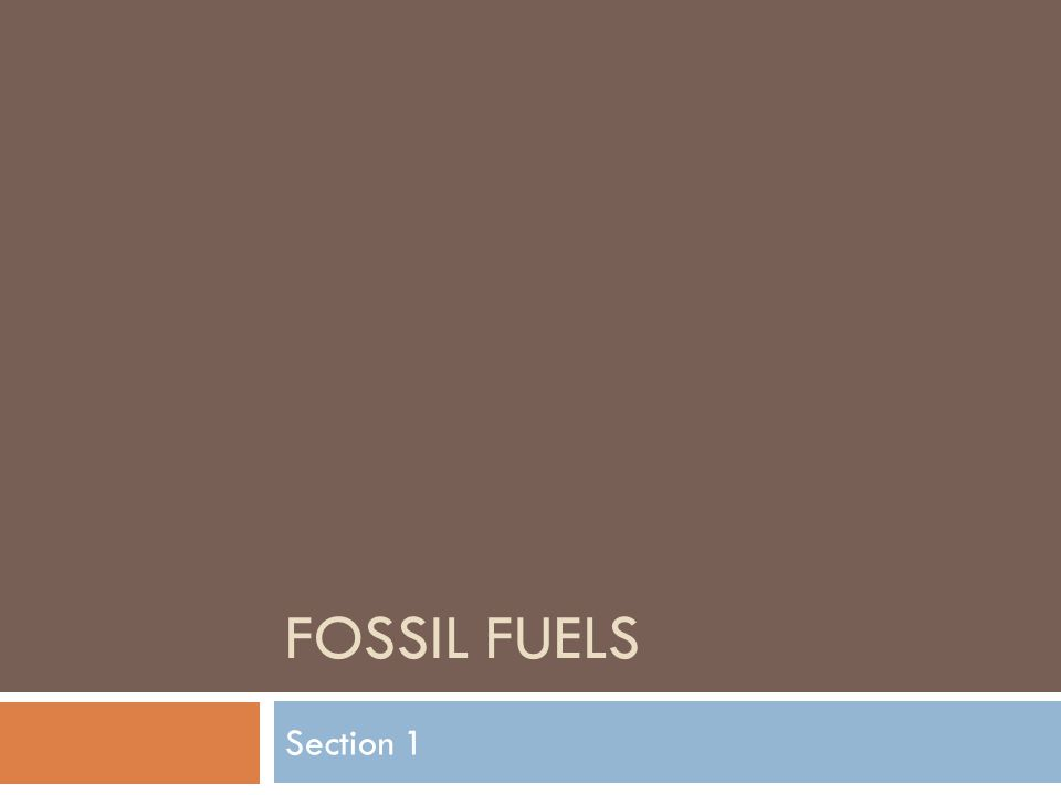 FOSSIL FUELS Section 1