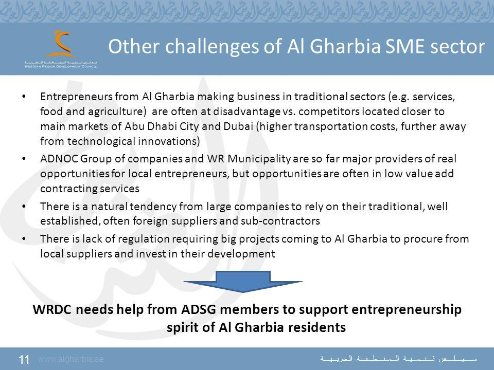 11 www.algharbia.ae مـــــجــــلـــــس تــــنـــمـــيــة الـــمــنــــطـــقـــة الـغـربـــيــــة Other challenges of Al Gharbia SME sector Entrepreneu