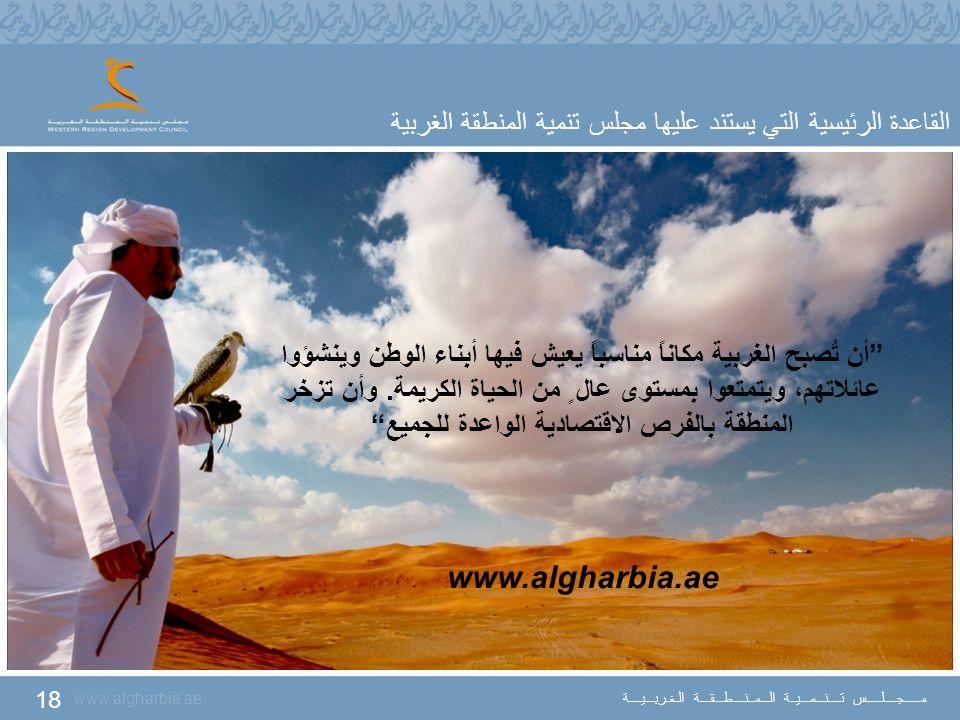"""18 www.algharbia.ae مـــــجــــلـــــس تــــنـــمـــيــة الـــمــنــــطـــقـــة الـغـربـــيــــة """"أن تُصبح الغربية مكاناً مناسباً يعيش فيها أبناء الوط"""