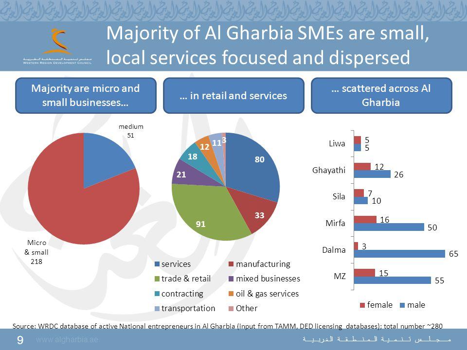 9 www.algharbia.ae مـــــجــــلـــــس تــــنـــمـــيــة الـــمــنــــطـــقـــة الـغـربـــيــــة Majority of Al Gharbia SMEs are small, local services