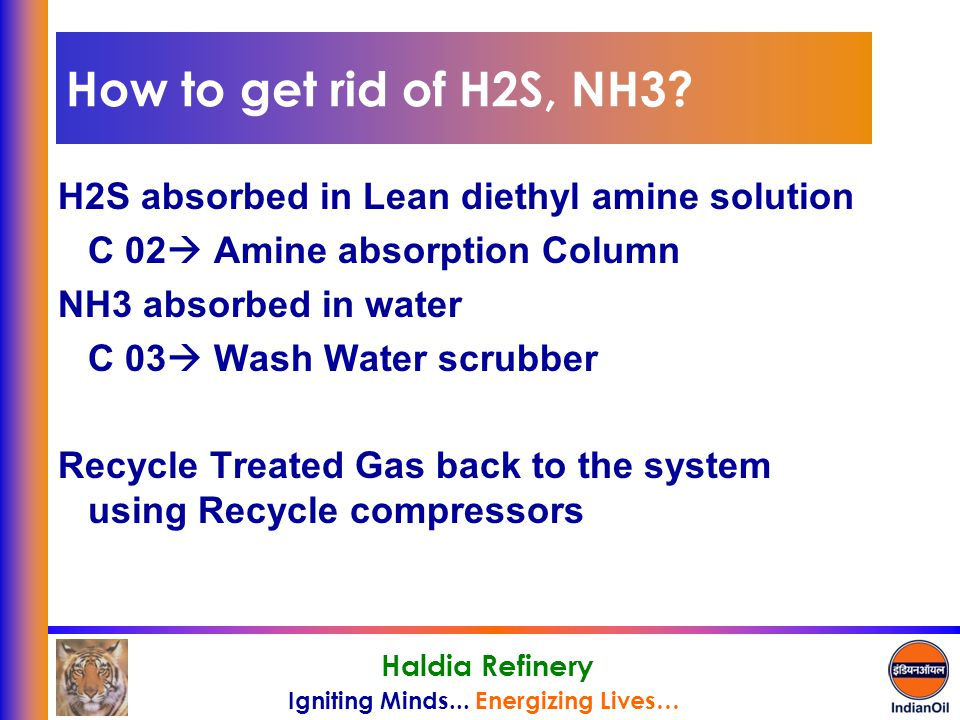 Igniting Minds... Energizing Lives… Haldia Refinery How to get rid of H2S, NH3? H2S absorbed in Lean diethyl amine solution C 02  Amine absorption Co