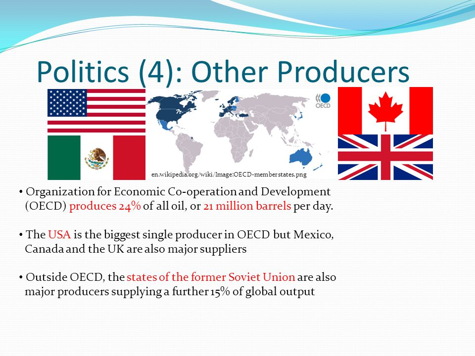 Politics (4): Other Producers Organization for Economic Co-operation and Development (OECD) produces 24% of all oil, or 21 million barrels per day.