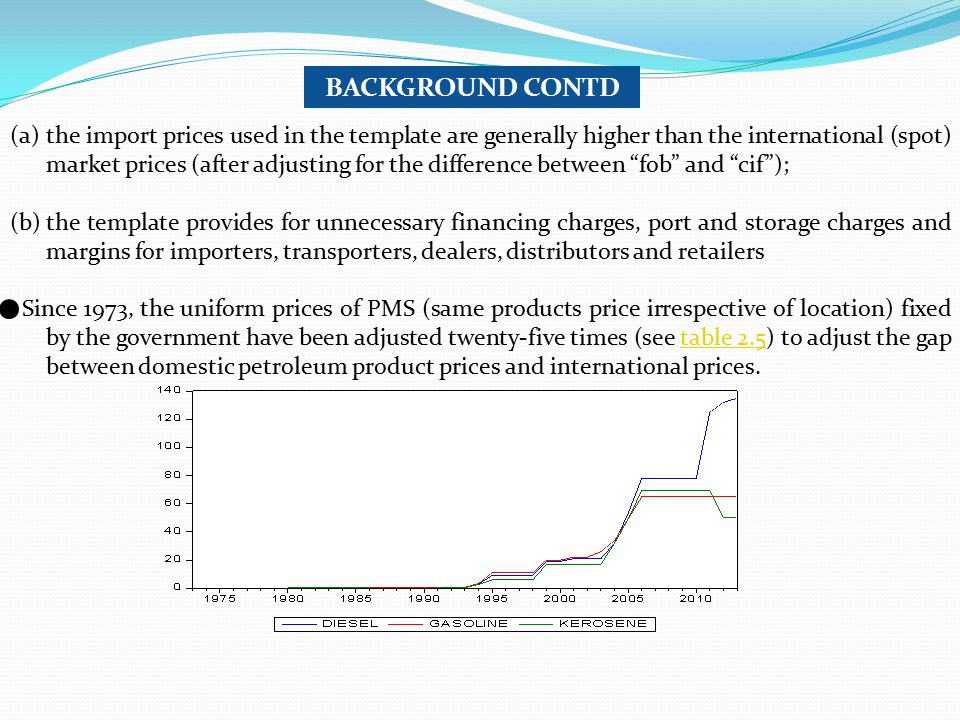 (a)the import prices used in the template are generally higher than the international (spot) market prices (after adjusting for the difference between