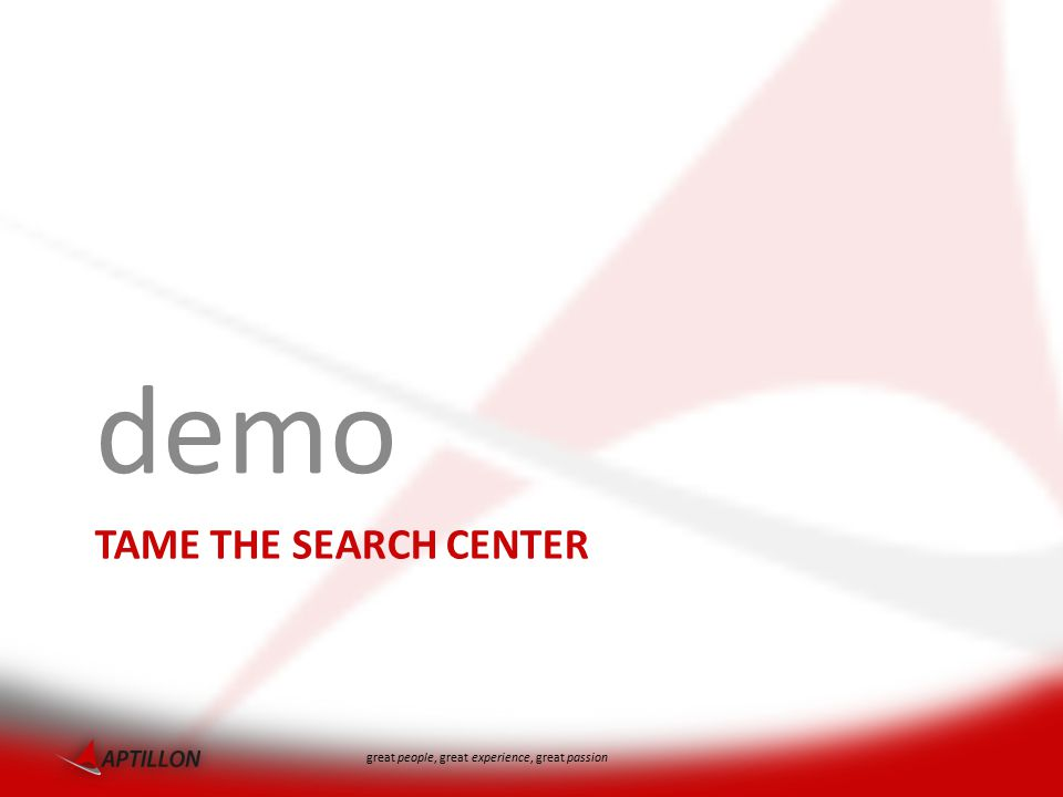 great people, great experience, great passion TAME THE SEARCH CENTER demo