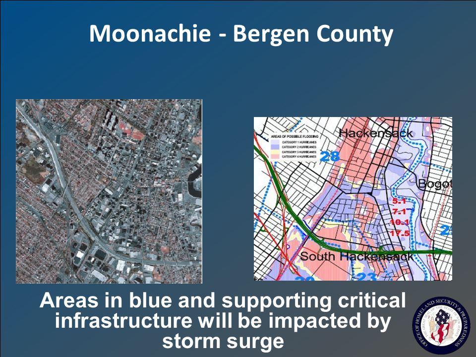 Moonachie - Bergen County Areas in blue and supporting critical infrastructure will be impacted by storm surge
