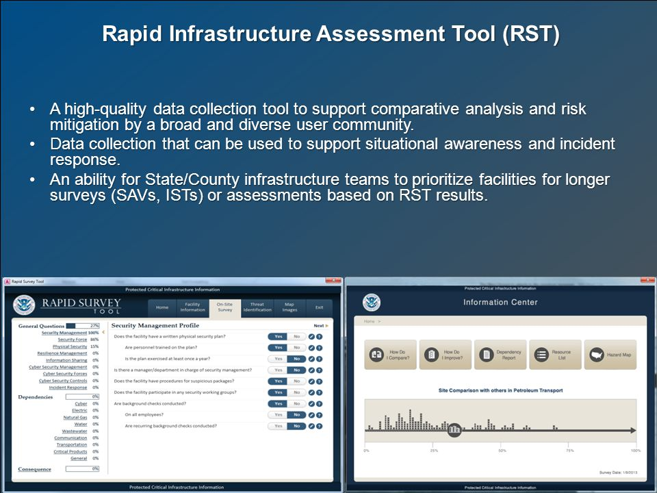 Rapid Infrastructure Assessment Tool (RST) A high-quality data collection tool to support comparative analysis and risk mitigation by a broad and diverse user community.A high-quality data collection tool to support comparative analysis and risk mitigation by a broad and diverse user community.