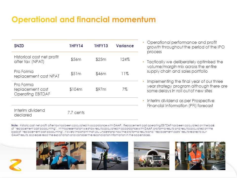Operational performance and profit growth throughout the period of the IPO process Tactically we deliberately optimised the volume/margin mix across the entire supply chain and sales portfolio Implementing the final year of our three year strategy program although there are some delays in roll out of new sites Interim dividend as per Prospective Financial Information (PFI) forecast $NZD1HFY141HFY13Variance Historical cost net profit after tax (NPAT) $56m$25m124% Pro Forma replacement cost NPAT $51m$46m11% Pro Forma replacement cost Operating EBITDAF $104m$97m7% Interim dividend declared 7.7 cents Note: Historic cost net profit after tax has been calculated in accordance with GAAP.