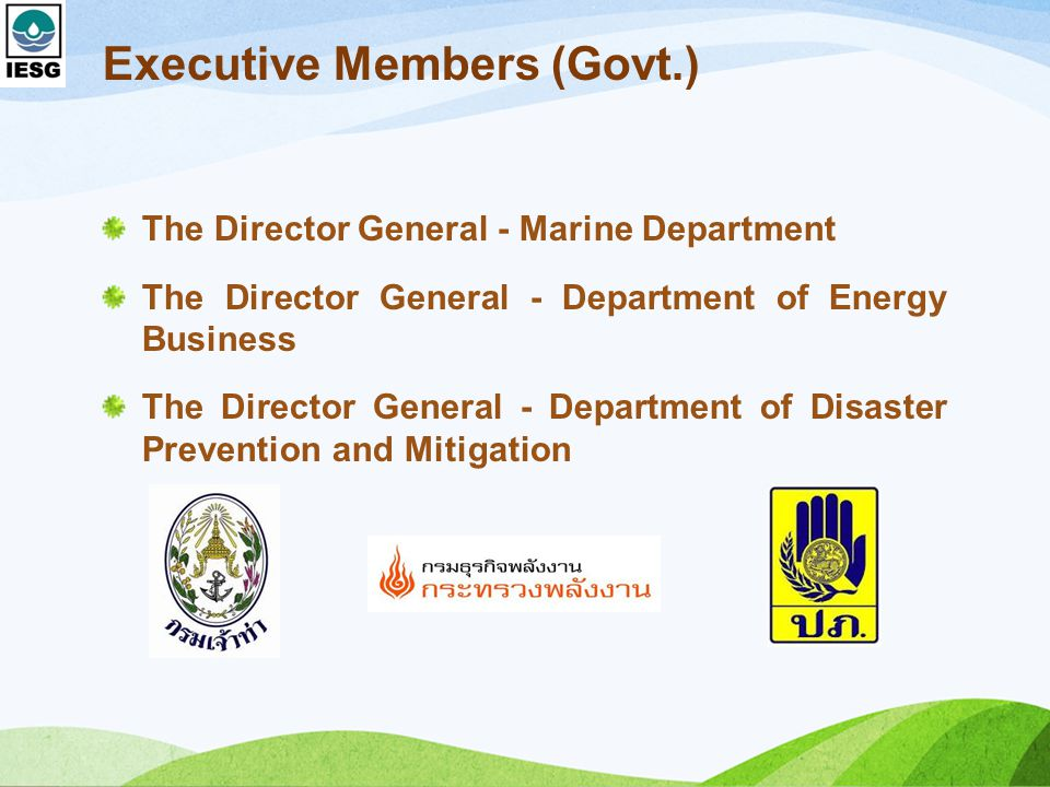 Executive Members (Govt.) The Director General - Marine Department The Director General - Department of Energy Business The Director General - Department of Disaster Prevention and Mitigation