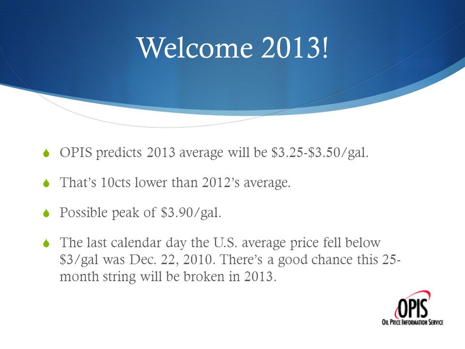 Welcome 2013.  OPIS predicts 2013 average will be $3.25-$3.50/gal.
