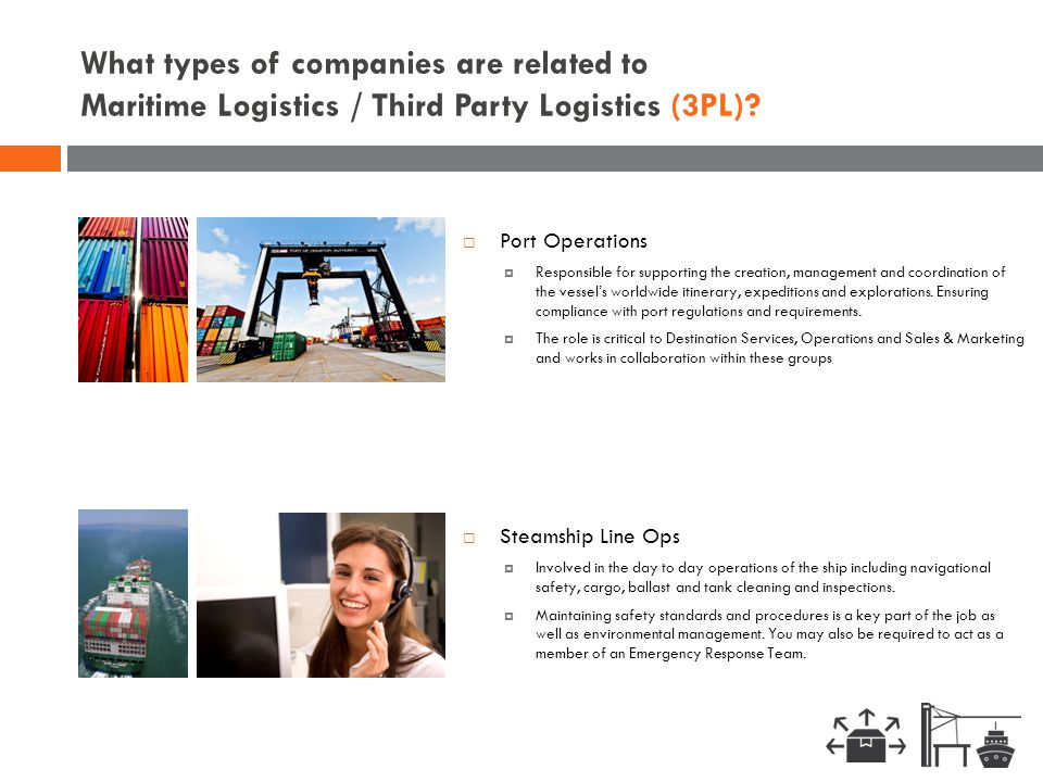 What types of companies are related to Maritime Logistics / Third Party Logistics (3PL)?  Steamship Line Ops  Involved in the day to day operations