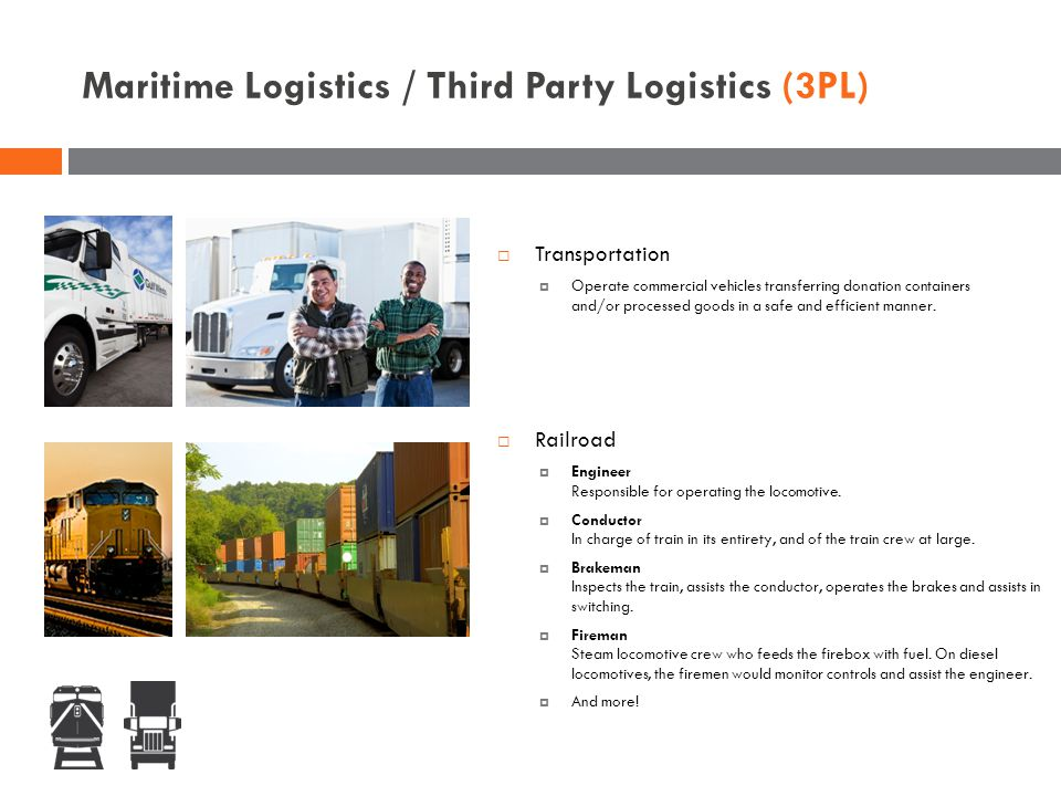 Maritime Logistics / Third Party Logistics (3PL)  Railroad  Engineer Responsible for operating the locomotive.