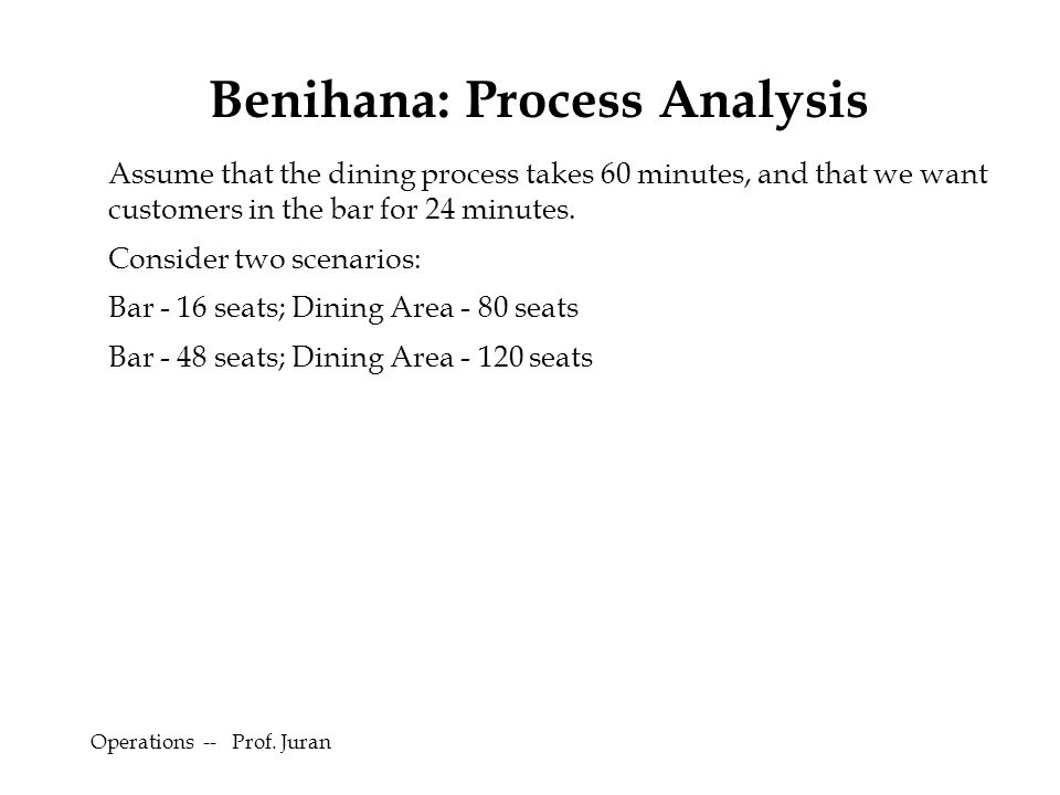 Operations -- Prof. Juran Assume that the dining process takes 60 minutes, and that we want customers in the bar for 24 minutes. Consider two scenario