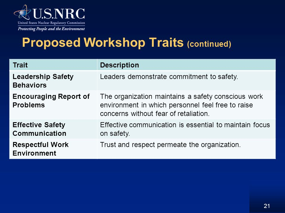 Proposed Workshop Traits (continued) 21 TraitDescription Leadership Safety Behaviors Leaders demonstrate commitment to safety.