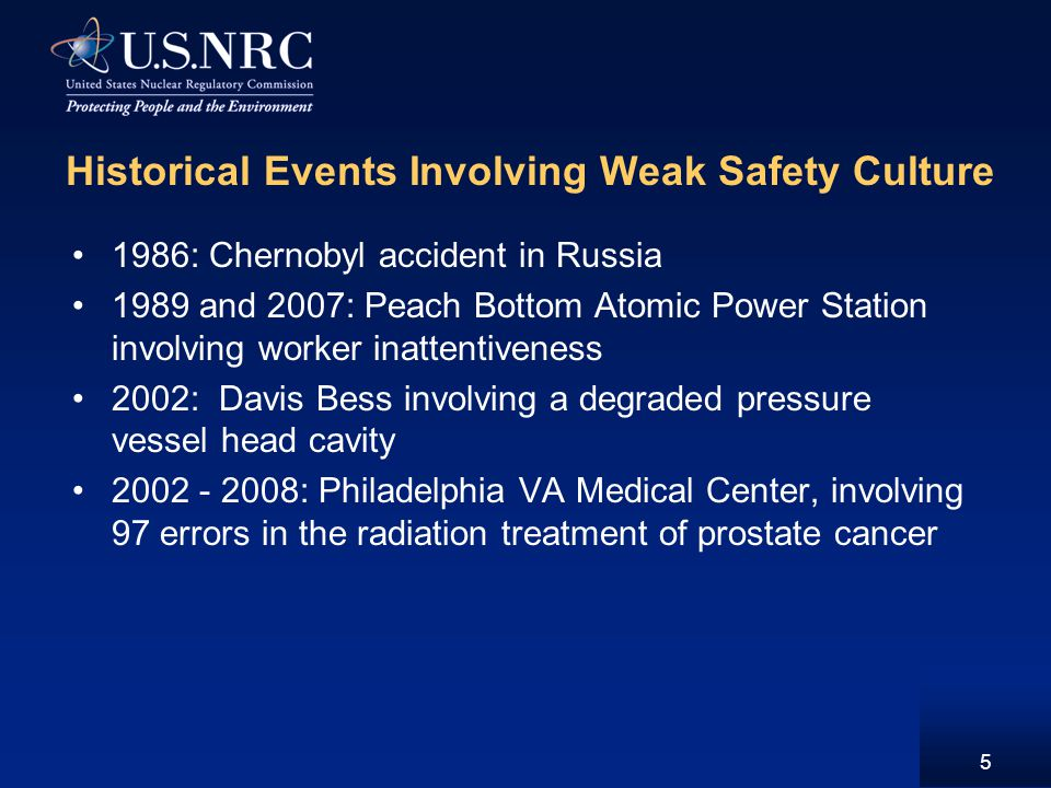 Historical Events Involving Weak Safety Culture 1986: Chernobyl accident in Russia 1989 and 2007: Peach Bottom Atomic Power Station involving worker inattentiveness 2002: Davis Bess involving a degraded pressure vessel head cavity 2002 - 2008: Philadelphia VA Medical Center, involving 97 errors in the radiation treatment of prostate cancer 5