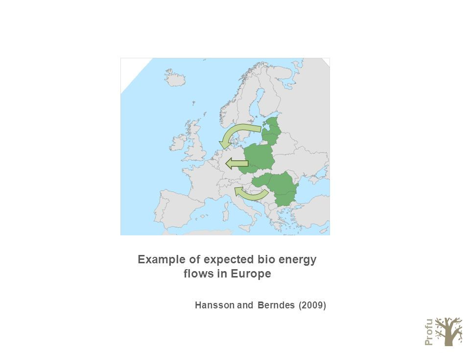 Example of expected bio energy flows in Europe Hansson and Berndes (2009)