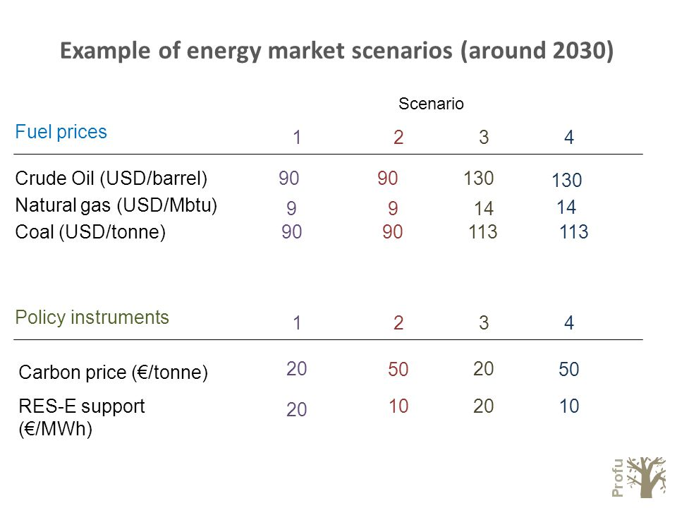 Example of energy market scenarios (around 2030) Crude Oil (USD/barrel) Coal (USD/tonne) Natural gas (USD/Mbtu) Scenario 1234 90 113 90 130 914 9 Fuel prices 130 Carbon price (€/tonne) RES-E support (€/MWh) 1234 20 102010 20 50 Policy instruments