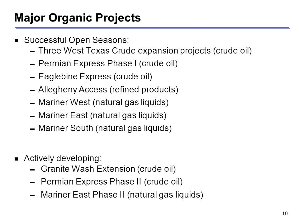 Major Organic Projects   Successful Open Seasons:   Three West Texas Crude expansion projects (crude oil)   Permian Express Phase I (crude oil)