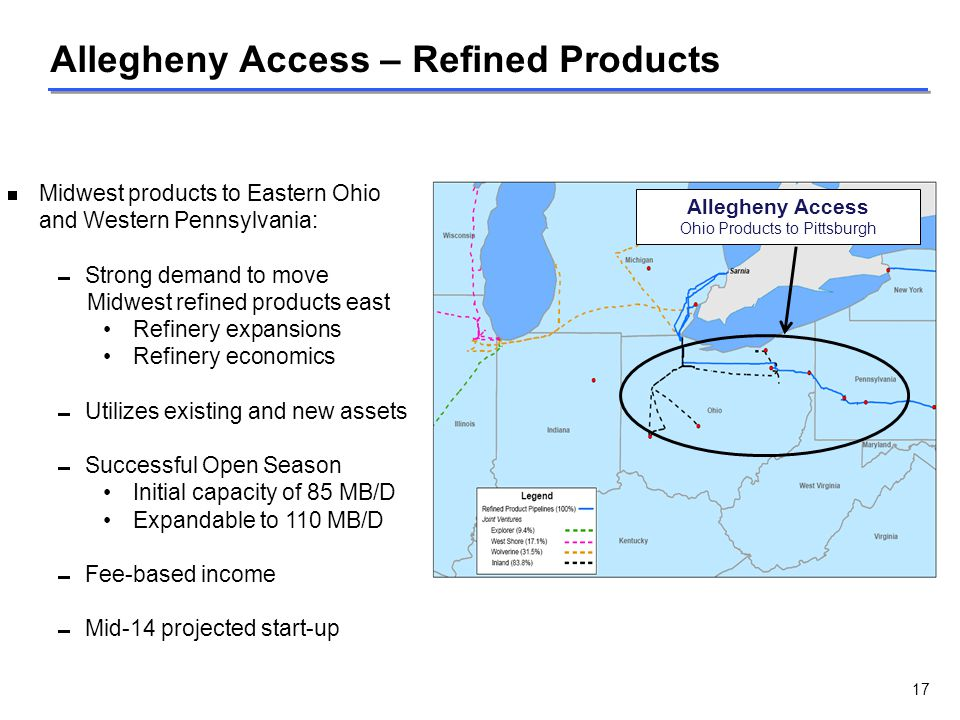  Midwest products to Eastern Ohio and Western Pennsylvania:  Strong demand to move Midwest refined products east Refinery expansions Refinery econom
