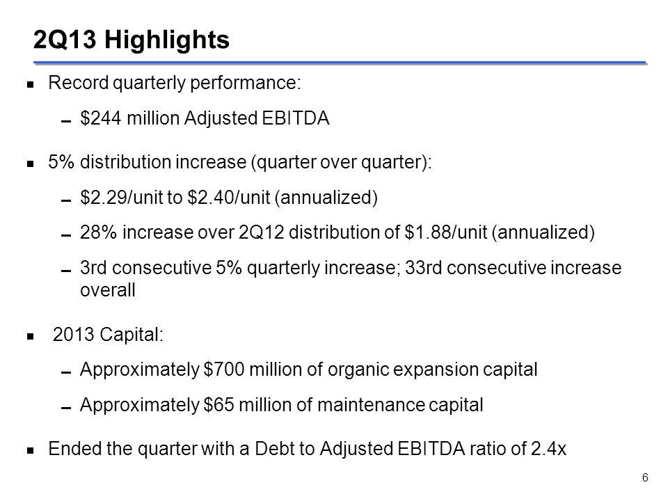 2Q13 Highlights   Record quarterly performance:   $244 million Adjusted EBITDA   5% distribution increase (quarter over quarter):   $2.29/unit
