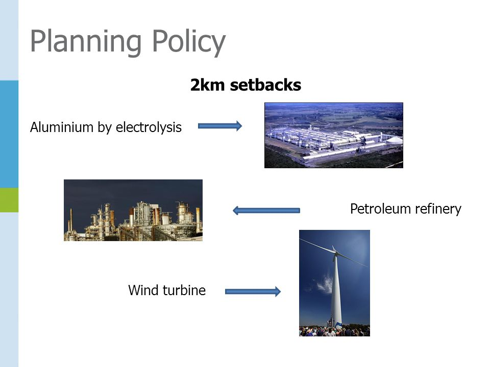 Planning Policy 2km setbacks Aluminium by electrolysis Petroleum refinery Wind turbine