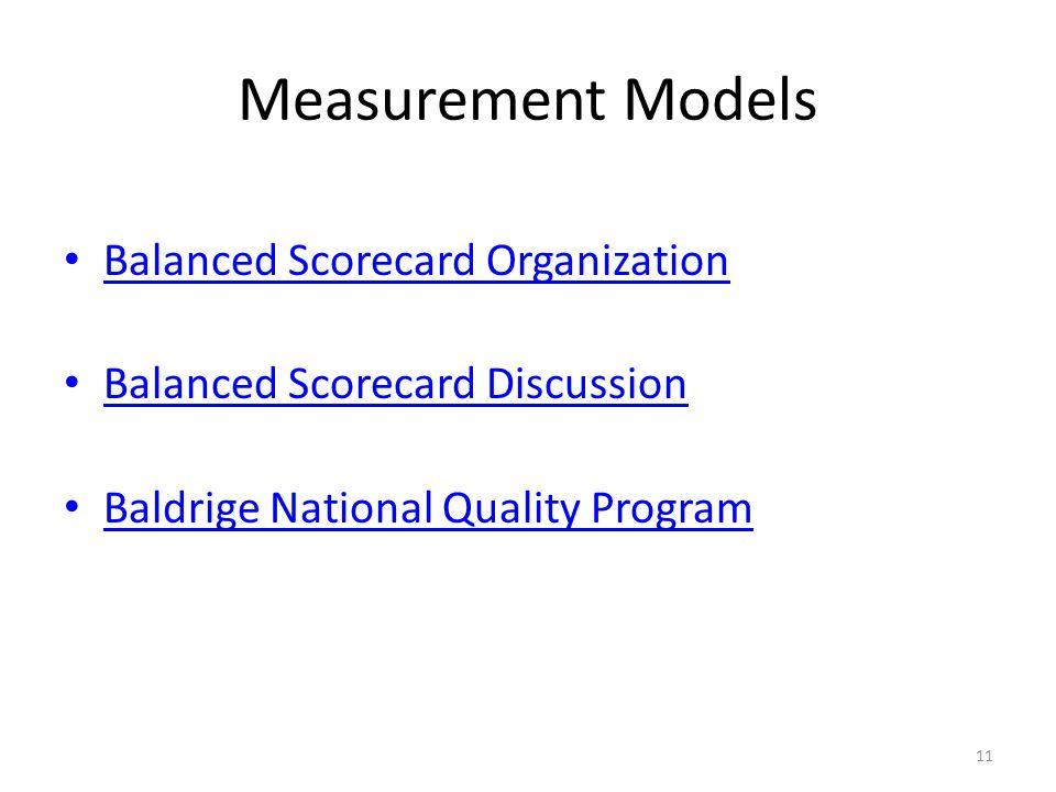 11 Measurement Models Balanced Scorecard Organization Balanced Scorecard Discussion Baldrige National Quality Program