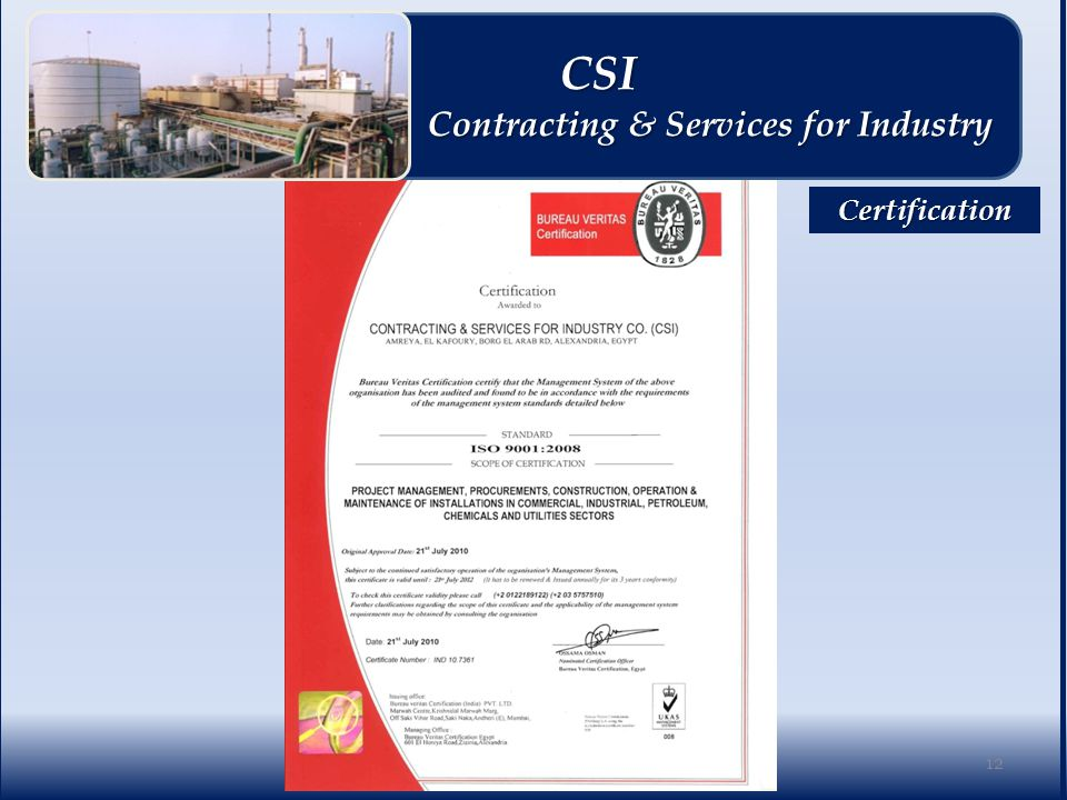 Certification 12 CSI CSI Contracting & Services for Industry Contracting & Services for Industry