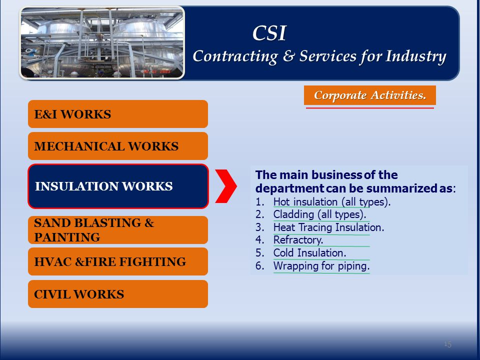 E&I WORKS MECHANICAL WORKS INSULATION WORKS SAND BLASTING & PAINTING HVAC &FIRE FIGHTING CIVIL WORKS Corporate Activities.